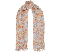 Frayed Printed Cashmere And Silk-blend Gauze Scarf