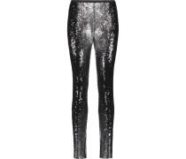 Sequined Cotton Slim-leg Pants Schwarz