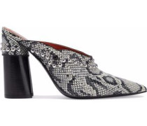 Studded snake-effect embossed faux leather mules