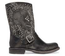 Jenna Studded Distressed Leather Biker Boots Schwarz