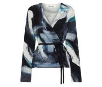 Silver Printed Merino Wool Wrap Top