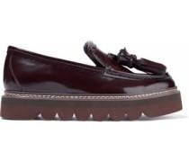 Tasseled glossed-leather platform loafers