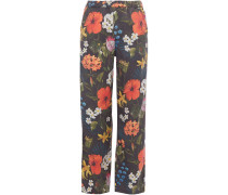 Woman Striped Floral-print Twill Straight-leg Pants Anthracite