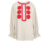 Zida Embroidered Cotton-gauze Blouse