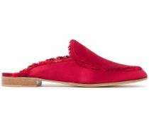 Palau Frayed Silk-satin Slippers
