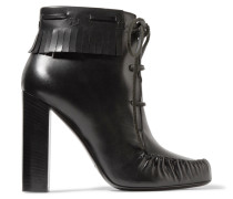 Fringed Leather Ankle Boots Schwarz