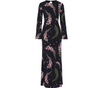 Open-back floral-print silk-georgette gown