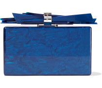 Woman Wolf Marbled Acrylic Box Clutch Navy