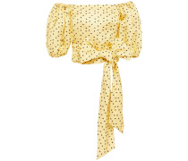Off-the-shoulder Bow-detailed Polka-dot Linen And Silk-blend Top