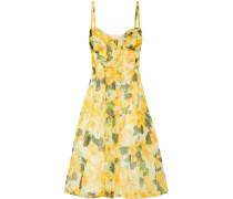 Embroidered Floral-print Silk Dress Gelb