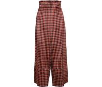 Printed silk-blend satin wide-leg pants