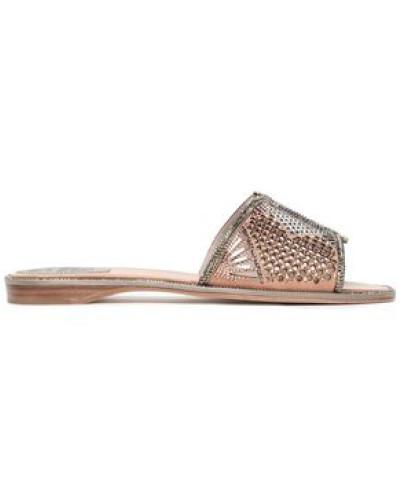 Crystal-embellished Laser-cut Suede Slides Bronze