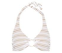 Neckholder-bikini-oberteil mit Streifen, Metallic-effekt und Ringdetails