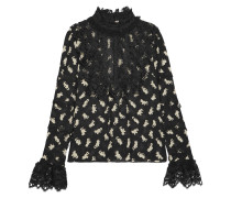 Shadow Cats Lace-paneled Printed Georgette Blouse Schwarz