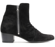 Ruched Suede Ankle Boots