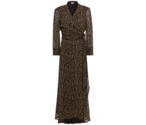 Midi-wickelkleid aus Georgette mit Tigerprint und Rüschen