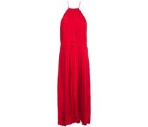 Mendini Pleated Satin-twill Midi Dress