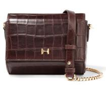 Mini Croc-effect Leather Shoulder Bag Merlot