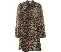 Ruffled Leopard-print Plisse-crepe Mini Dress