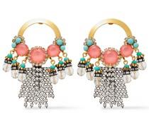 24 Kt. Verete Ohrringe mit Hämatitbeschichtung, Kristallen und Steinen