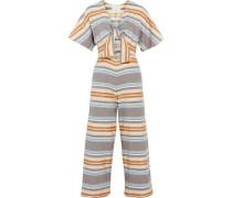 The Tie cutout striped basketweave cotton jumpsuit