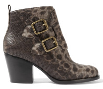 Printed Snake-effect Leather Ankle Boots Grau