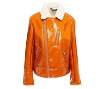 Zip-detailed Crinkled Coated-shearling Biker Jacket