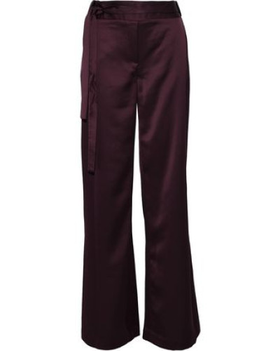 Belted Satin Bootcut Pants Burgundy Size 0