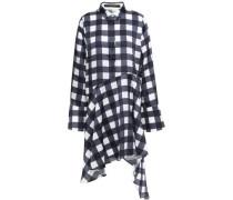 April Asymmetric Checked Satin Mini Shirt Dress Navy