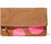 Neon fold-over printed suede clutch