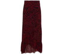 Salvi Ruffled Zebra-print Georgette Wrap Skirt