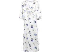Pleated Floral-print Silk-satin Midi Dress