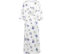 Woman Pleated Floral-print Silk-satin Midi Dress White