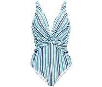Badeanzug aus Stretch-seersucker mit Streifenmuster und Twist-detail