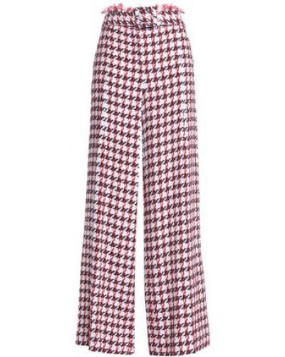 Cotton-blend Tweed Wide-leg Pants Red Size 14