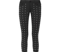 Cropped studded stretch skinny pants