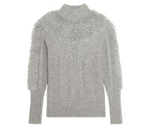 Nell Cable-knit Wool-blend Turtleneck Sweater Grau
