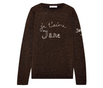 Je T'aime Jane Embroidered Metallic Wool-blend Sweater