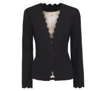 Woman Scalloped Grain De Poudre Cotton-blend Jacket Black