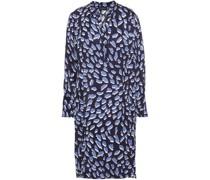 Bedrucktes Kleid aus Satin mit Falten