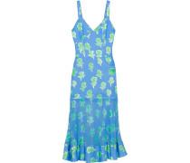 Woman Printed Chiffon-paneled Silk-faille Midi Dress Light Blue