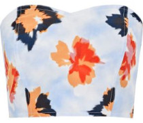 Reversible strapless floral-print silk bustier top