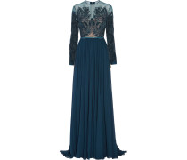 Embellished Tulle And Silk-chiffon Gown Navy