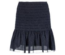 Metallic Shirred Silk-blend Chiffon Mini Skirt Mitternachtsblau