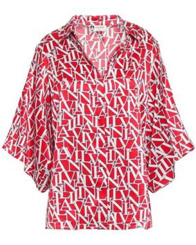 Woman Printed Silk-satin Shirt Red