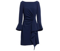 Draped Pleated Stretch-crepe Mini Dress