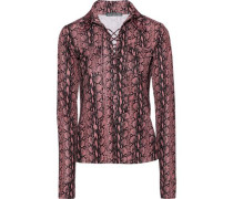 Lace-up Snake-print Jersey Top Antique Rose