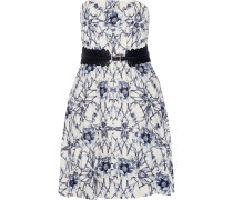 Belted Printed Cotton And Silk-blend Mini Dress Mehrfarbig