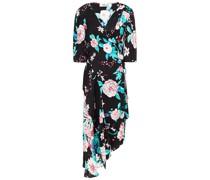 Asymmetric Floral-print Woven Midi Wrap Dress