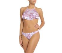 Ruffled printed halterneck bikini